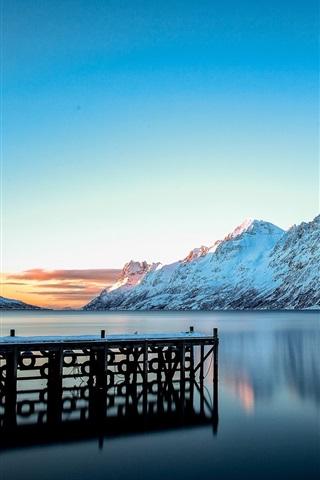 Fonds Décran Paysage Dhiver Montagnes Neige Lac Quai