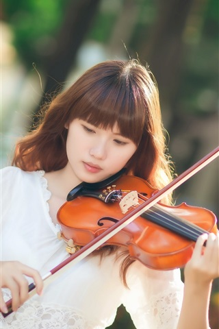 iPhone Wallpaper Asian girl, violin, music, sunlight