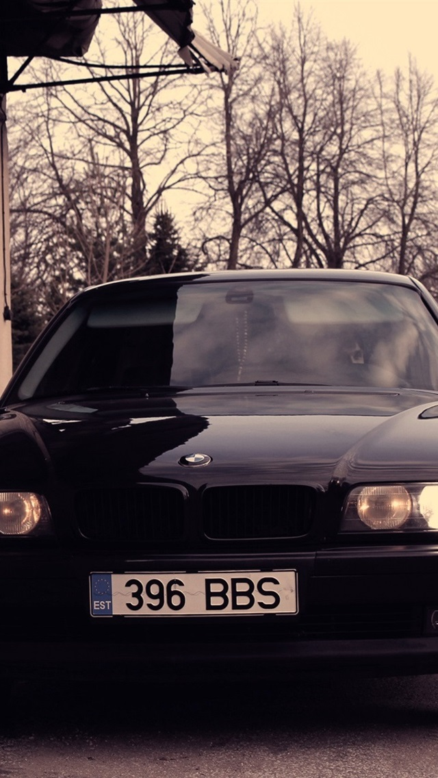 Wallpaper Bmw 740 E38 Black Car Front View 1920x1200 Hd Picture Image