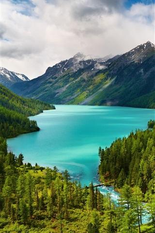 iPhone Обои Красивая природа пейзажи, зеленые, деревья, озеро, река, горы, облака
