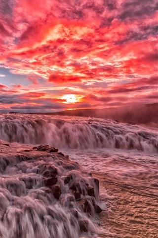 iPhone Wallpaper Beautiful sunset, river, rapids, stream, clouds, glow, red sky