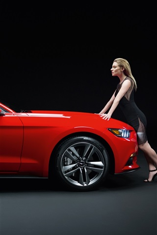 iPhone Wallpaper Ford Mustang GT red muscle car with girl