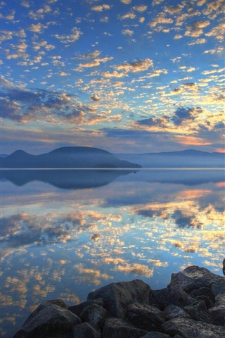 iPhone Wallpaper Lake Toya, Hokkaido, Japan, sunrise, clouds