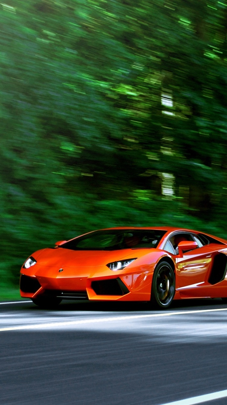 Lamborghini Aventador Lp700 4 Orange Supercar In Road 750x1334