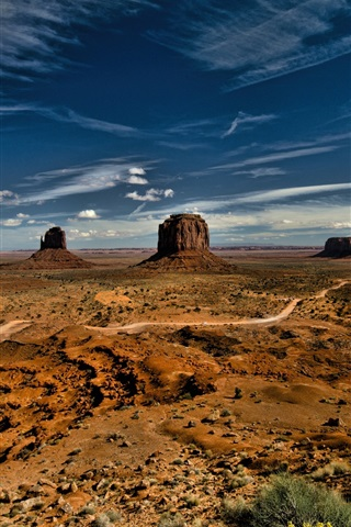 iPhone Wallpaper Monument Valley, USA, sky, clouds, desert
