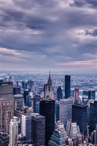 iPhone Wallpaper New York City, USA, Manhattan, skyscrapers, buildings, houses, twilight