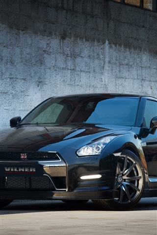 iPhone Wallpaper Nissan GTR R35 black Vilner car