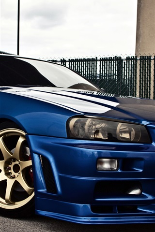 Nissan Skyline Gtr R34 Blue Car Side View 750x1334 Iphone 8 7 6 6s