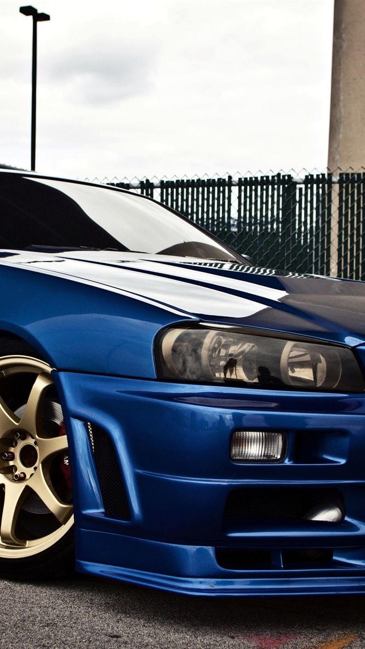 Nissan Skyline Gtr R34 Blue Car Side View 750x1334 Iphone 8