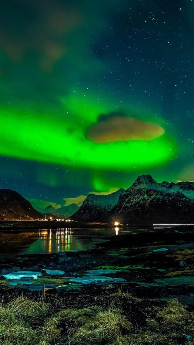 Wallpaper Norway Lofoten Islands Mountains Winter Night