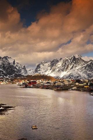 iPhone Wallpaper Norway, mountains, bay, village, winter, dusk