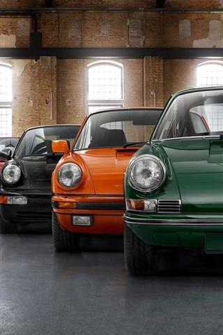 Porsche model range, seven colors car 640x960 iPhone 4/4S