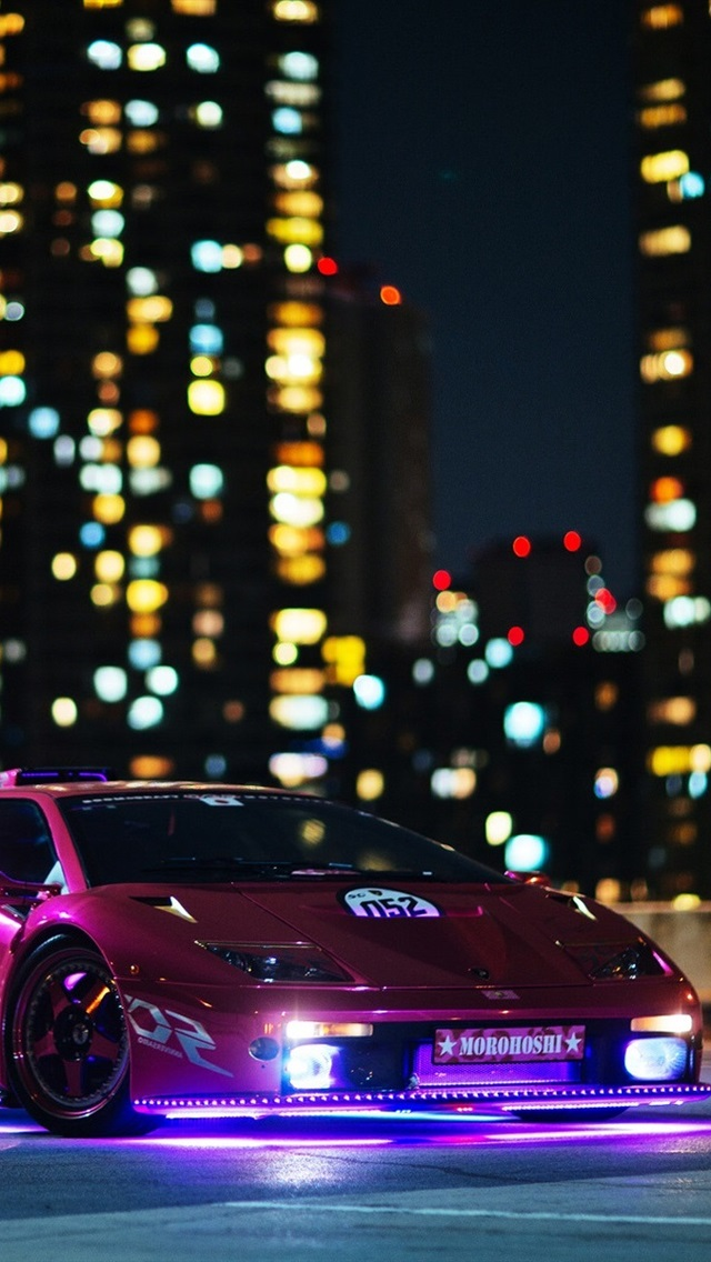 Purple Lamborghini Supercar Night Buildings Lights 640x1136