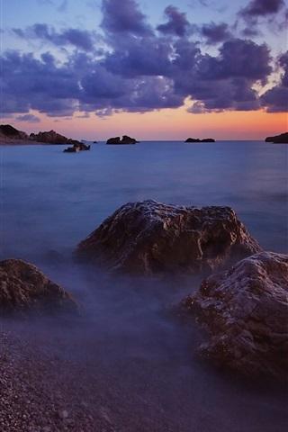 iPhone Wallpaper Sea, evening, waves, beach, stones, clouds, horizon, sunset