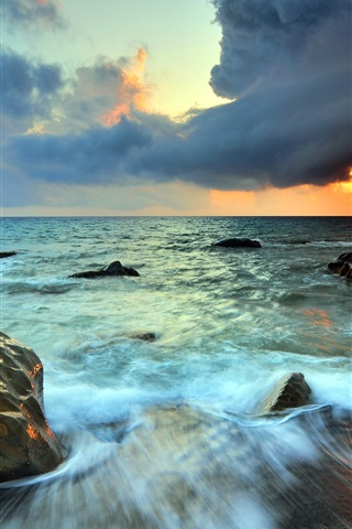 iPhone Wallpaper Sea, stones, sky, clouds, sunset