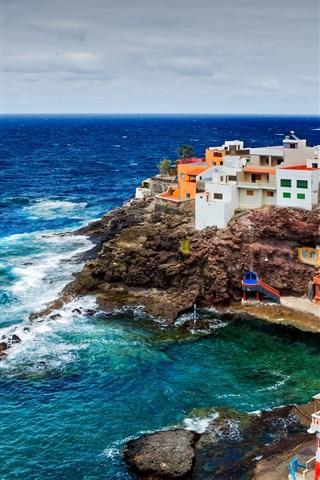 iPhone Wallpaper Spain, Canary Islands, ocean, rocks, cliffs, coast, houses, buildings