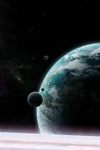 iPhone Wallpaper Universe, planet, satellite, stars