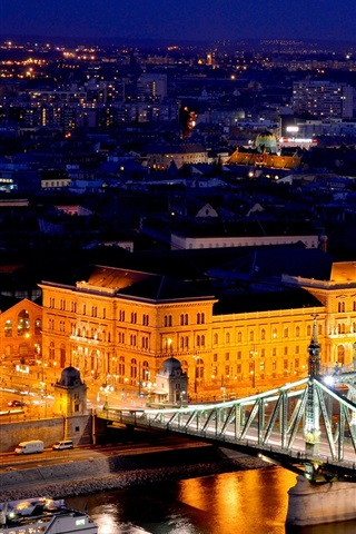 iPhone Wallpaper Budapest, Hungary, Freedom Bridge, river, Danube, lights, buildings, night