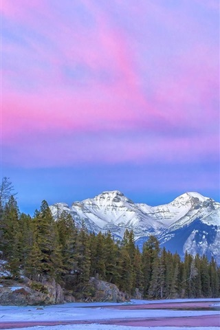 iPhone Wallpaper Canada, National Park, river, mountain, clouds, purple sky, winter