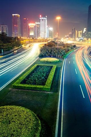 iPhone Wallpaper City night, lights, street, buildings, blur