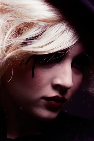 iPhone Wallpaper Creative, girl portrait, hair, leaves