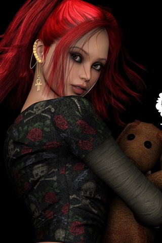 iPhone Wallpaper Fantasy red hair girl with toy bear