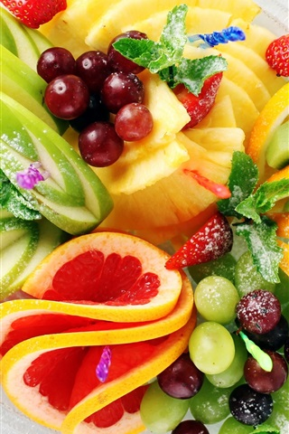 iPhone Wallpaper Fruit salad, strawberry, pineapple, kiwi, lemon, apple, grapes