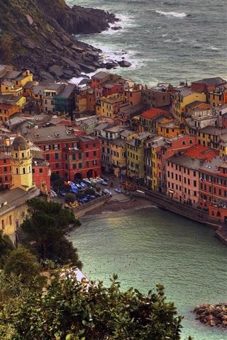 iPhone Wallpaper Manarola, Cinque Terre, Italy, houses, Ligurian sea, coast
