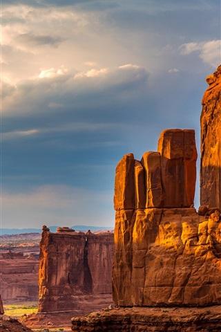 iPhone Wallpaper Nature, cliffs, canyon, rocks, desert, sky, clouds