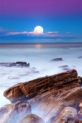 iPhone Wallpaper Night, moon, sea, stones