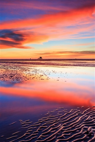 iPhone Wallpaper Sea, beach, sunset, boats, red sky