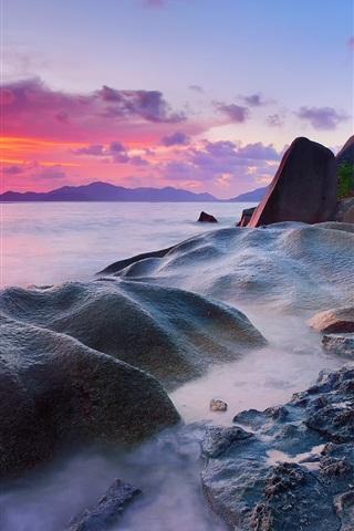 iPhone Wallpaper Seychelles, La Digue Island, Indian Ocean, sea, stones, palm trees, sunset
