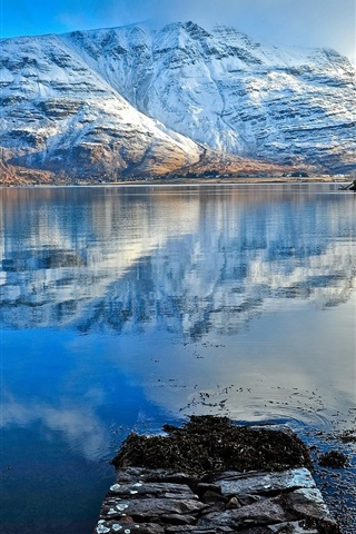 iPhone Wallpaper Snow mountains, lake, water reflection, blue