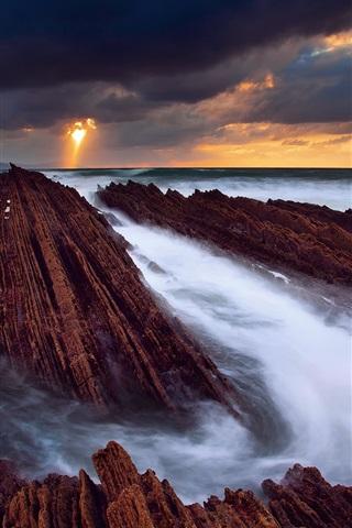 iPhone Wallpaper Spain, the Atlantic ocean, rocks, sea, water streams, sky, clouds