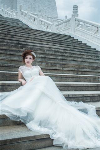 iPhone Wallpaper Stairs, white dress girl, bride, wedding