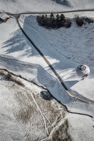 iPhone Wallpaper Top view, road, house, balloon, winter, snow