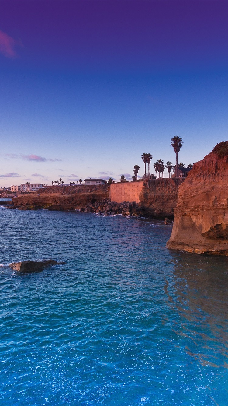Usa California San Diego Usa Sunset Cliffs Blue Sea Sky 750x1334 Iphone 8 7 6 6s Wallpaper Background Picture Image