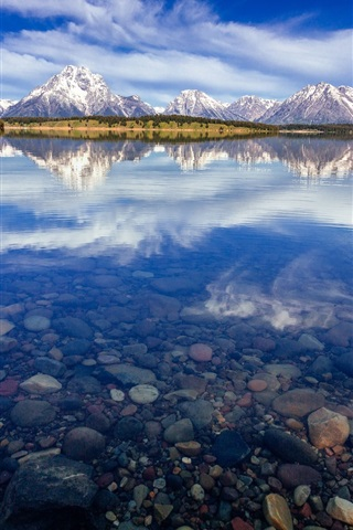 iPhone Wallpaper USA, Wyoming, National Park Grand Teton, Lake Jackson, water reflection