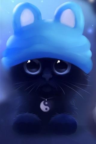 iPhone Wallpaper Watercolor painting, black white kitten