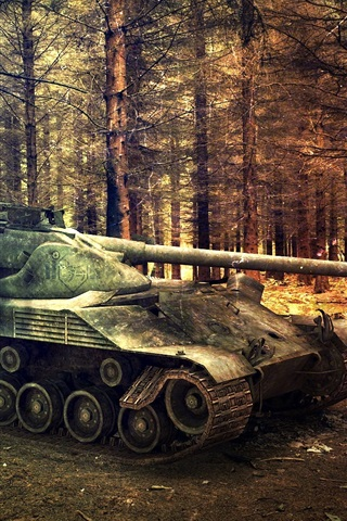 iPhone Papéis de Parede World of Tanks, árvores, floresta