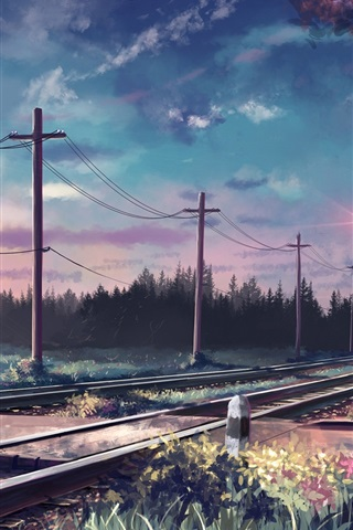 Sombras Rastejantes Art-painted-trees-rails-poles-railroad_iphone_320x480
