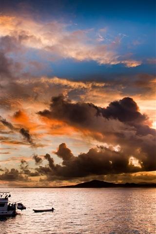 iPhone Wallpaper Evening, sea, coast, sunset, boat, clouds
