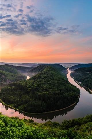 iPhone Wallpaper Germany, natural park, resort, river meander, sunset