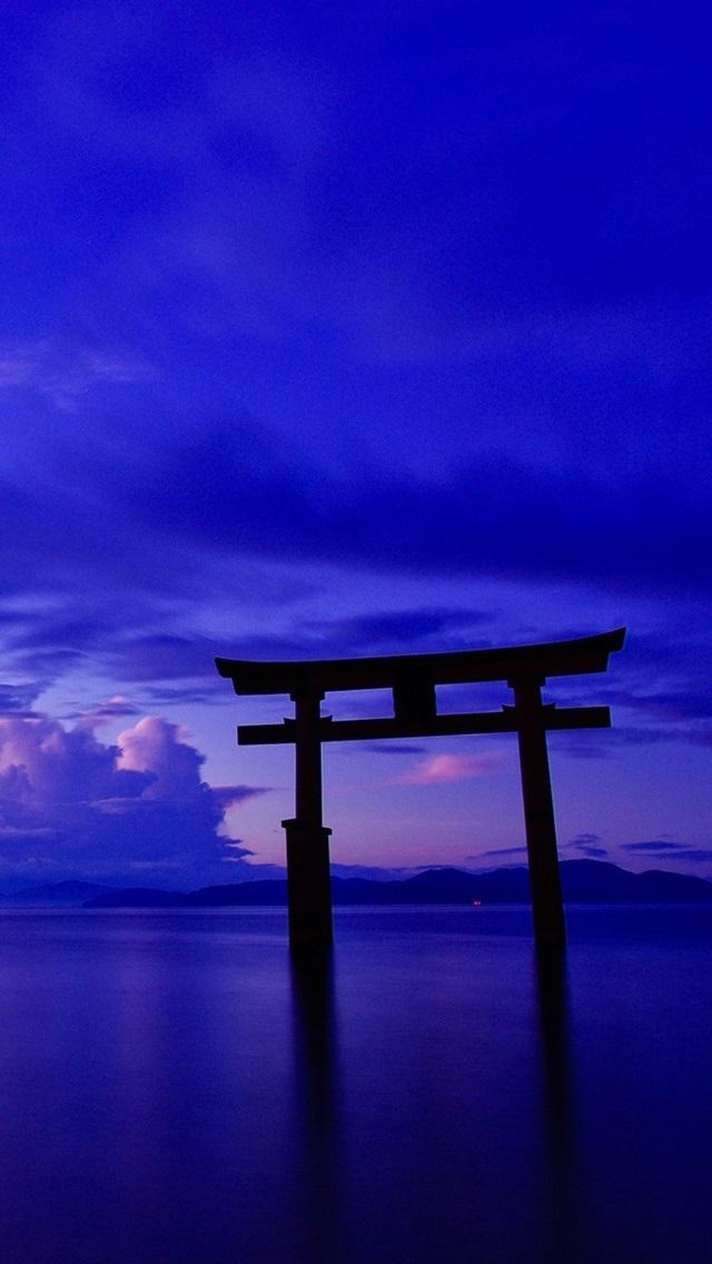 Japan Ocean Sky Clouds Gate Torii Dusk 640x1136 Iphone