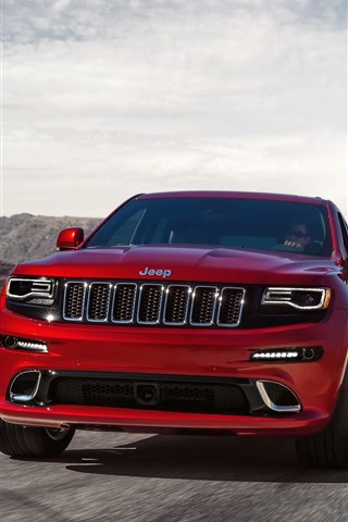 Jeep Grand Cherokee Srt Red Car Front View 750x1334 Iphone 8 7 6 6s