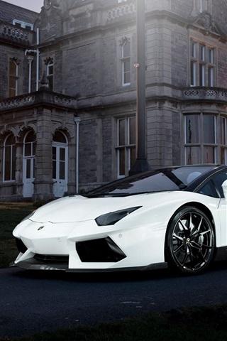 iPhone Wallpaper Lamborghini Aventador white supercar, night, house, lights