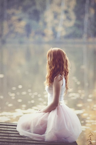 iPhone Wallpaper Lonely girl, white dress, lakeside