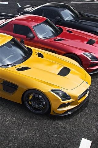 iPhone Wallpaper Mercedes-Benz AMG SLS supercar, yellow, red, black