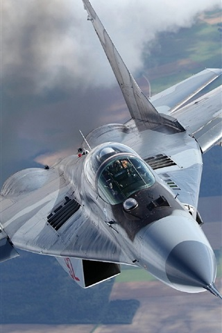 iPhone Wallpaper MiG-29A fighter, missiles