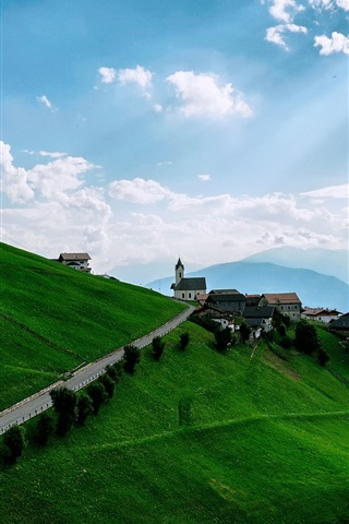 iPhone Wallpaper Mountains, meadows, slopes, houses, sky, clouds